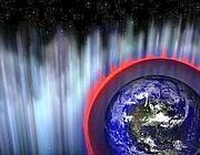 Ricostruzione di un lampo gamma che colpisce la Terra (Nasa)